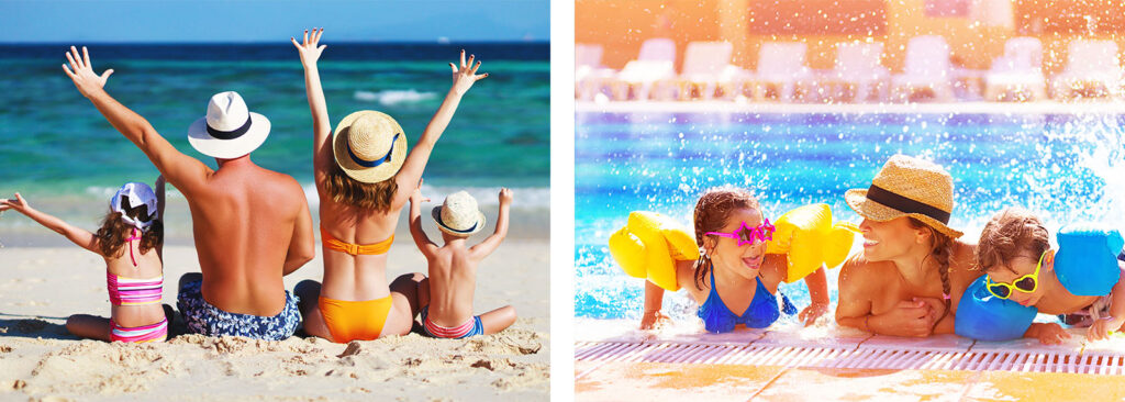 famiglia bambini spiaggia